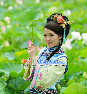 Chinese Minguo Time Folk Dress and Hair Jewelry for Women