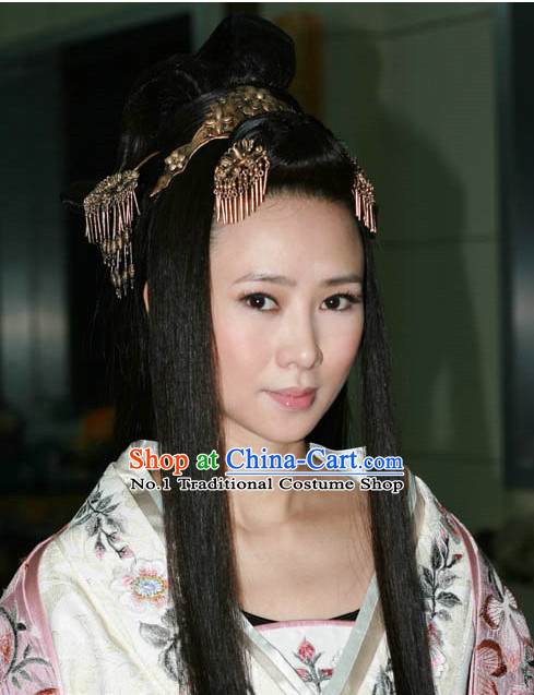 Chinese Traditional Black Long Wig and Hair Ornaments for Women