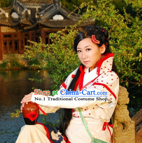 Chinese Traditional Swordswoman Costumes and Headpieces Complete Set