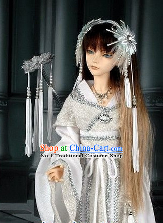 Chinese Princess Silver Costumes and Headpieces Complete Set for Women