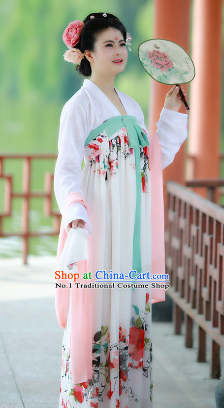 Chinese Tang Dynasty Clothing and Headpieces Complete Set for Women