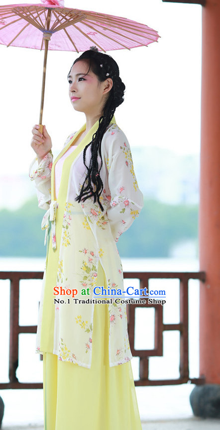 Chinese Traditional Umbrella Dance Costumes and Headpieces Complete Set for Women