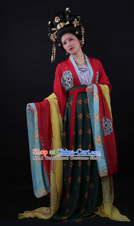 Chinese Tang Wedding Dress and Accessories Complete Set for Brides