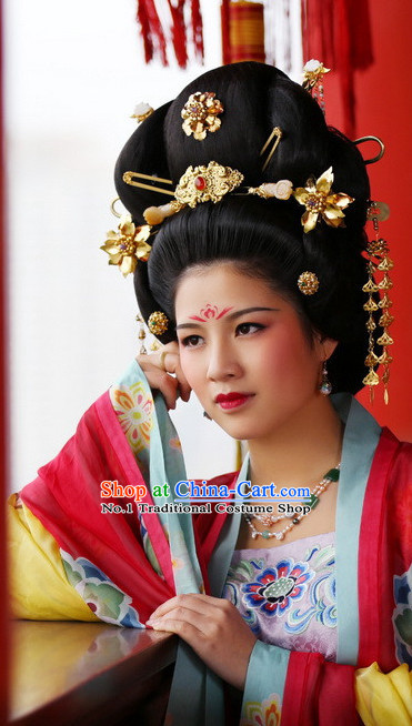 Chinese Traditional Tang Dynasty Black Wig and Hair Accessories