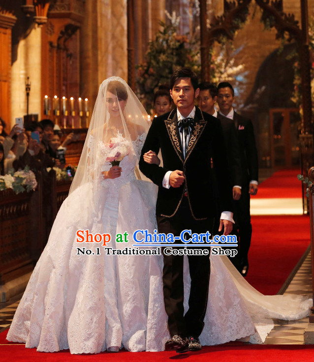 Chinese Star Zhou Jielun Jackie's Brides Kun Ling Romantic Wedding Dress