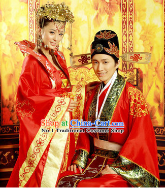 Ancient Chinese Wedding Dress and Hats for Newly Wedded Couple