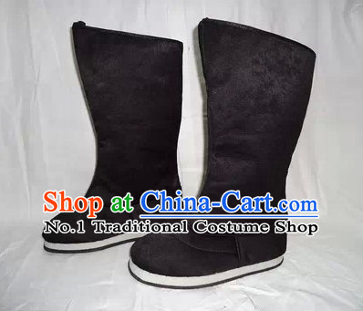 Chinese Opera Black Long Hanfu Boots for Men