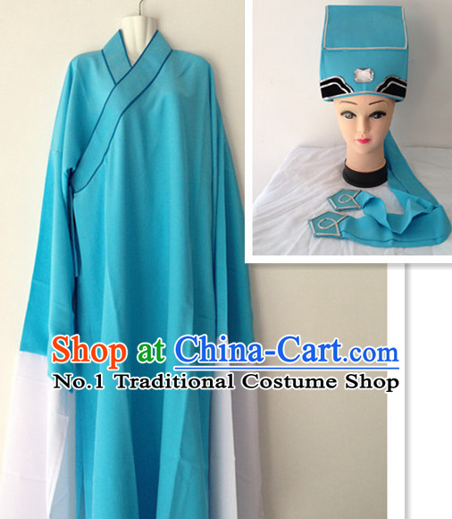 Long Sleeve Chinese Opera Young Men Costumes and Hat Complete Set