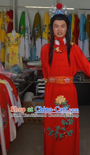 Asian Fashion Chinese Jia Baoyu Costume and Headwear Complete Set