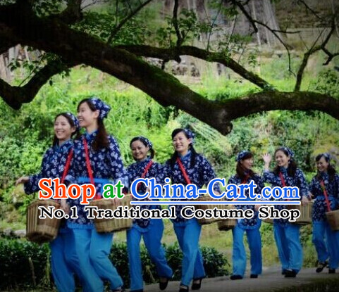 Asian Fashion Chinese Tradiitonal Dress Farmer Perofrmance Costumes and Headwear for Women