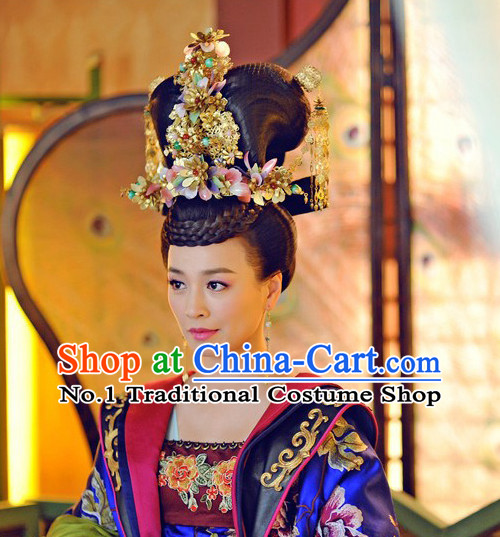 Asian Fashion Chinese Empress Kimono Costumes and Headwear Complete Set for Women