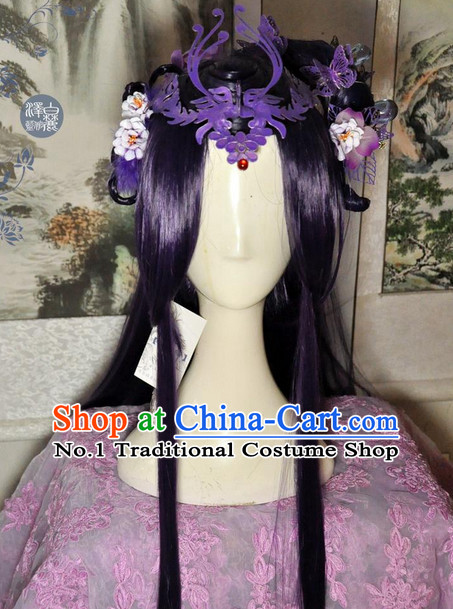 Chinese Traditional Handmade Princess Long Black Wig and Hair Accessories