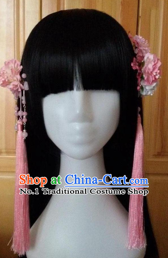 Traditional Chinese Black Wigs and Hair Flowers for Women Buy Wigs online