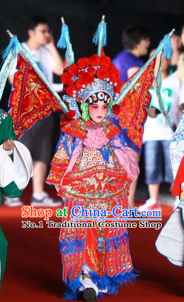 Traditional Chinese Beijing Opera Kids Mu Guiying Superhero Costumes Complete Set