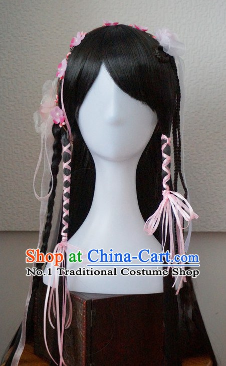 Traditional Chinese Princess Handmade Hair Pieces and Black Long Wigs