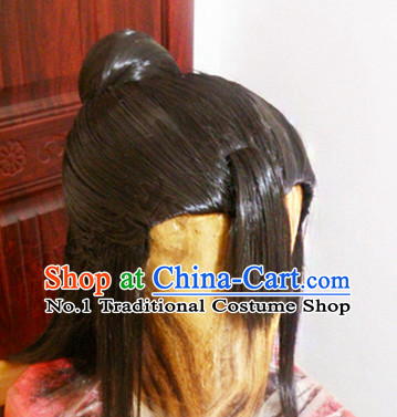 Chinese Ancient Style Girls Long Black Wigs and Hair Jewelry