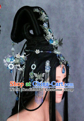 Chinese Traditional Handmade Empress Long Black WIgs and Hair Accessories Set