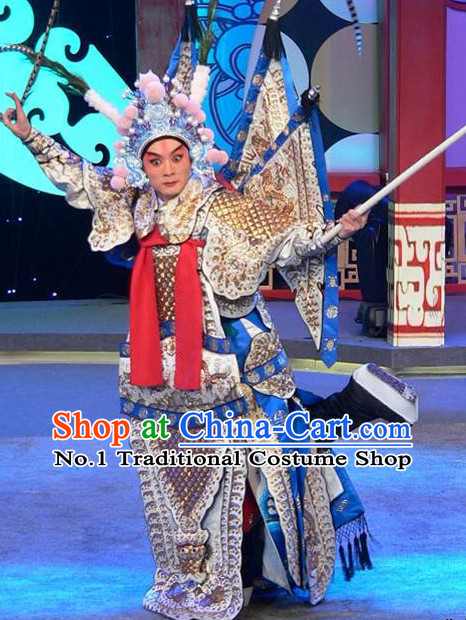 Chinese Traditional General Xiao Sheng General Embroidered Costumes and Hat