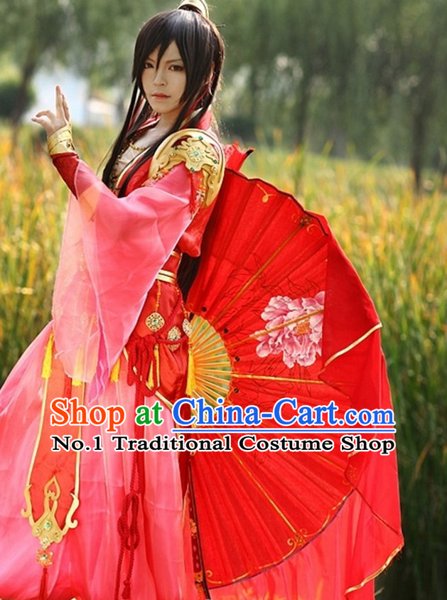 Asia Fashion Chinese Fan Dancer Kung Fu Cosplay Costumes Halloween Costumes