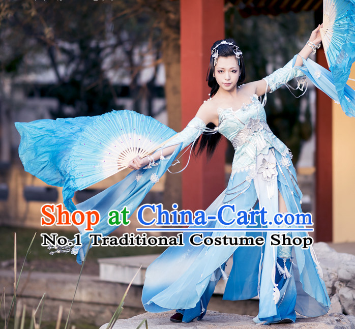 Asia Fashion Chinese Fairy Water Sleeves Fan Dancing Costumes and Hair Accessies Complete Set