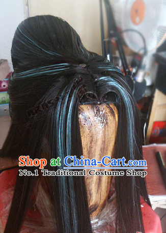 Chinese Ancient Style Kung Fu Swordswomen Scholar Men's Long Black Wigs