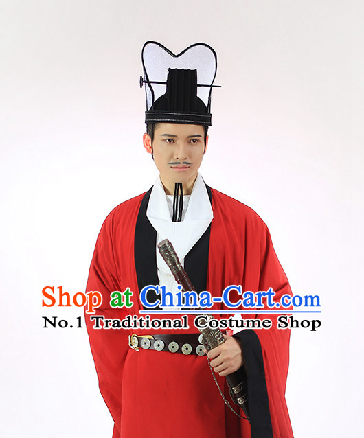 Chinese Ancient Dress and Hat Complete Set for Men