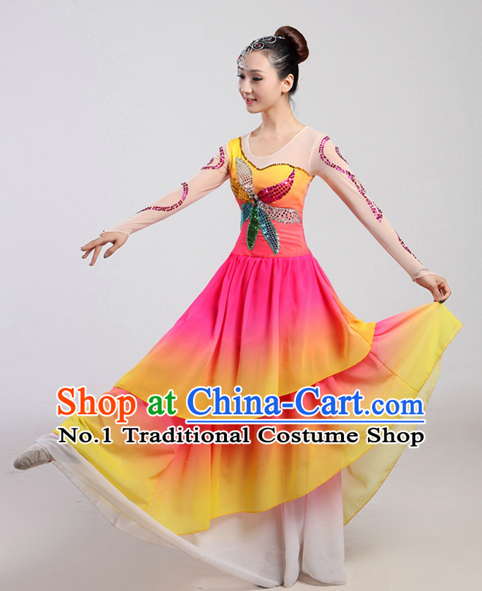 Chinese Folk Dancing Costume and Headwear Complete Set for Women