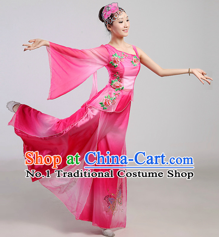 Wide Sleeves Chinese Folk Dance Costumes and Headwear Complete Set for Women
