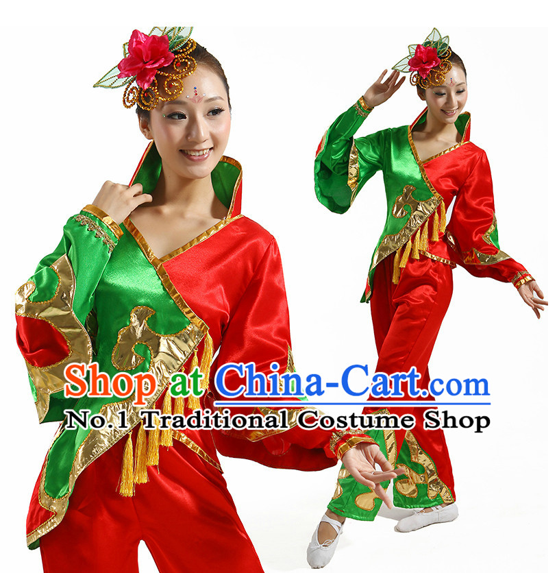 Chinese Flower Dancing Costume and Hair Accessory Complete Set for Ladies