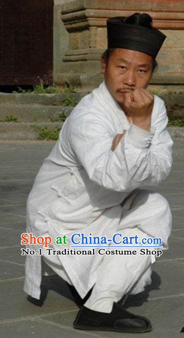 Chinese White Taoist Clothes and Hat Complete Set for Men