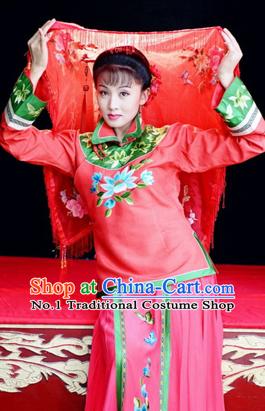 Asian Chinese Traditional Dress Theatrical Costumes Ancient Chinese Clothing Bride Costumes and Hair Accessories
