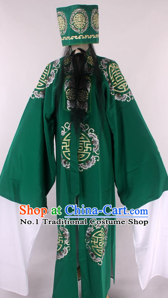 Chinese Traditional Oriental Clothing Theatrical Costumes Opera Costume Landlord Clothes and Hat for Men