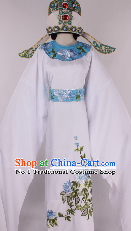 Chinese Traditional Oriental Clothing Theatrical Costumes Opera Young Scholar Young Men Costume and Hat for Men