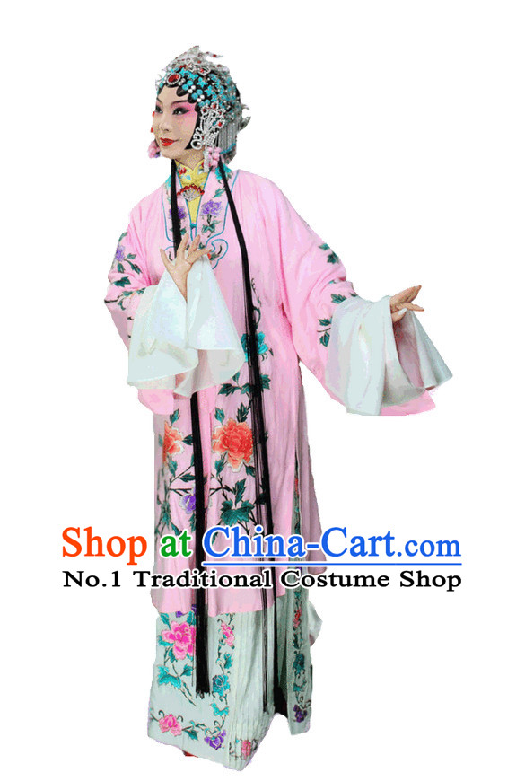 Chinese Traditional Dresses Theatrical Costumes Ancient Chinese Hanfu Hua Tan Long Robe and Hair Accessories