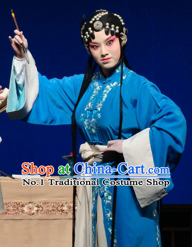 Chinese Traditional Dresses Theatrical Costumes Ancient Chinese Hanfu Qing Yi Blue Costumes and Hair Accessories
