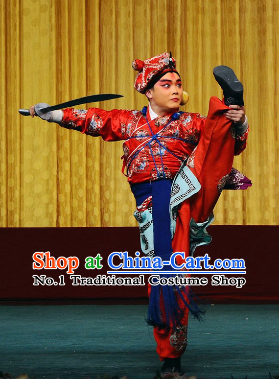 Blue Ancient Chinese Beijing Opera Wu Sheng Military Character Long Water Sleeves Costumes for Men