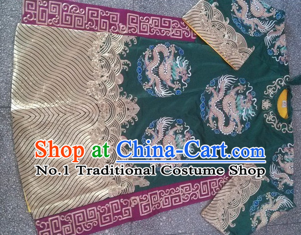 Green Ancient Chinese Beijing Opera Dragon Robe Costumes for Men