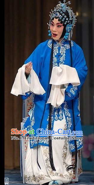 Ancient Chinese Beijing Opera Qing Yi Costumes and Headwear Complete Set for Women