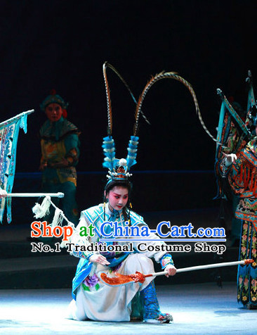 Ancient Chinese Beijing Opera Costumes and Hair Accessories Complete Set