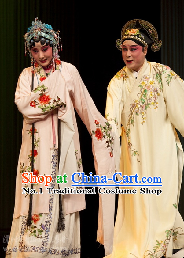 Ancient Chinese Beijing Opera The Peach Blossom Fan Costumes and Hair Accessories 2 Sets