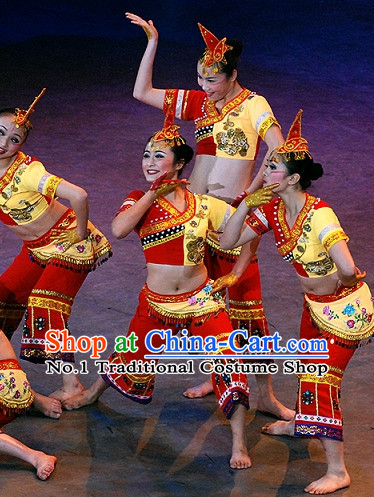 Chinese Folk Ethnic Minority Dancewear Costumes and Hat Complete Set for Women