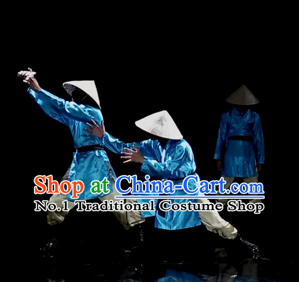 Awesome Chinese Dance Group Dancing Dance Costumes and Strawhats Complete Set for Men
