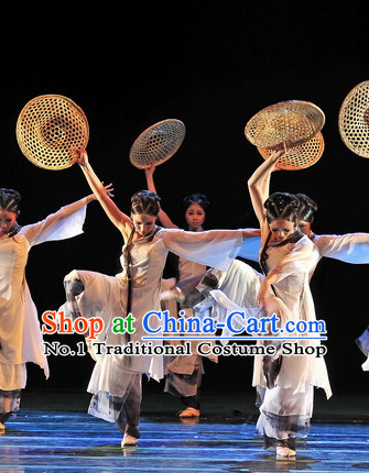 Beautiful Chinese Classical Dancing Costumes and Headwear Complete Set for Women
