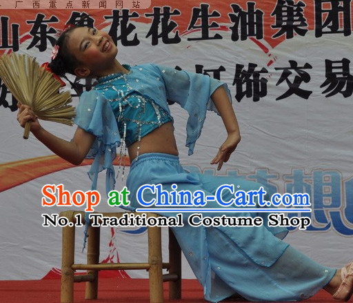 Chinese Opera Stage Fan Dance Costumes and Hair Accessories Complete Set for Women