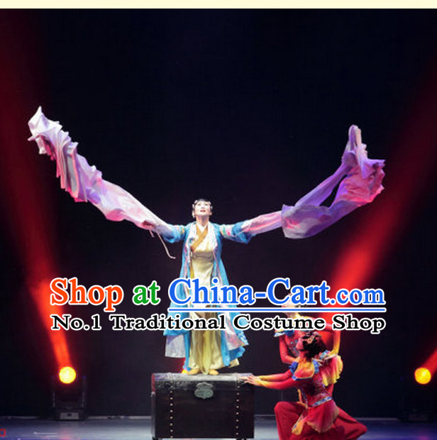 Chinese Wtater Sleeve Dance Costumes Complete Set for Women