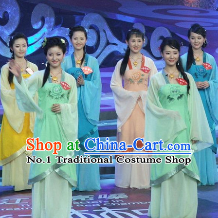 Stage Performance Ancient Chinese Dance Costumes and Headwear Complete Set for Women