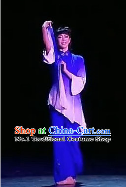Stage Performance Chinese Folk Handkerchief Dance Costumes Complete Set for Women