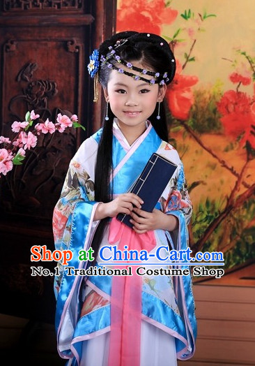 Traditional Chinese Ancient Student Costumes Complete Set for Kids