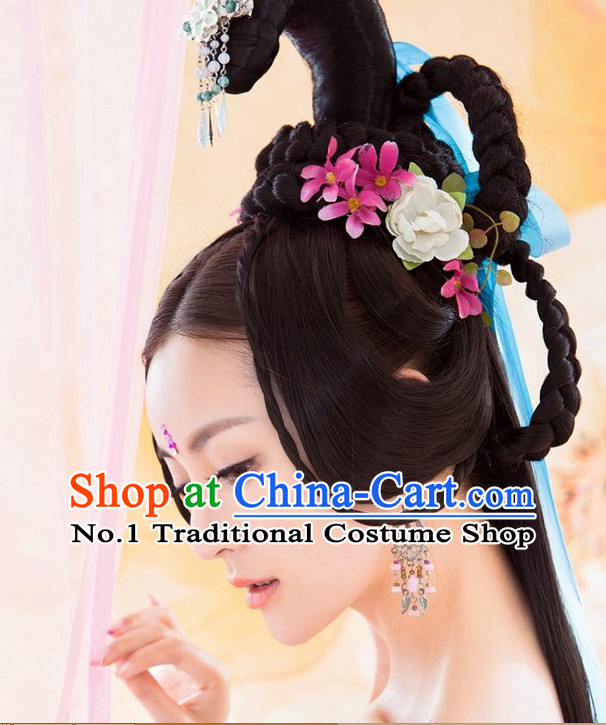 Chinese Traditional Empress Black Long Wigs