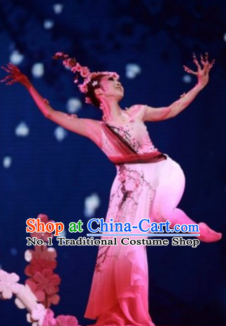 Chinese Classical Peach Fairy Dancing Costumes and Hair Accessories Complete Set